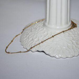 """Gold ankle bracelet 9"""" beaded chain"""